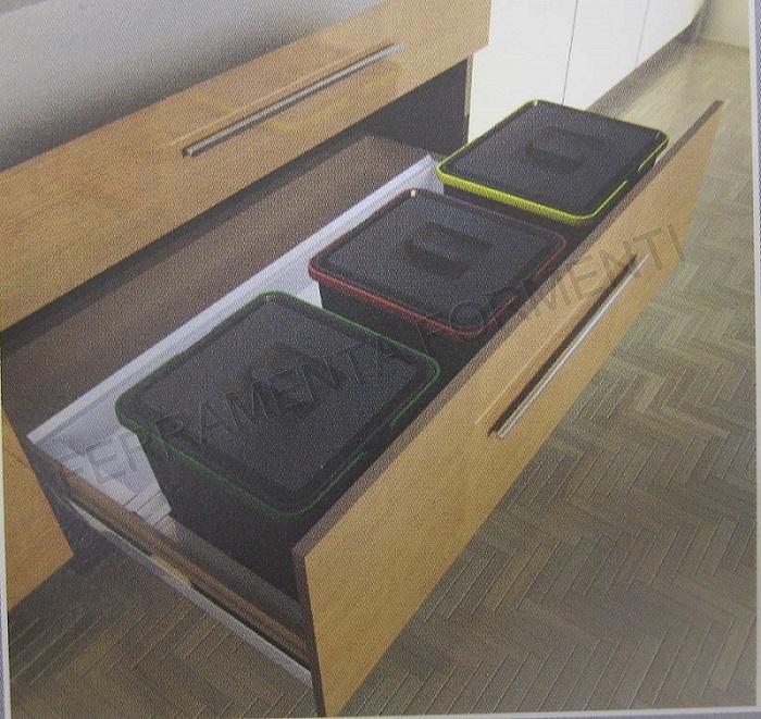 905028-11 pattumiera ecologica per cassetto cucina, 3 secchi su ...
