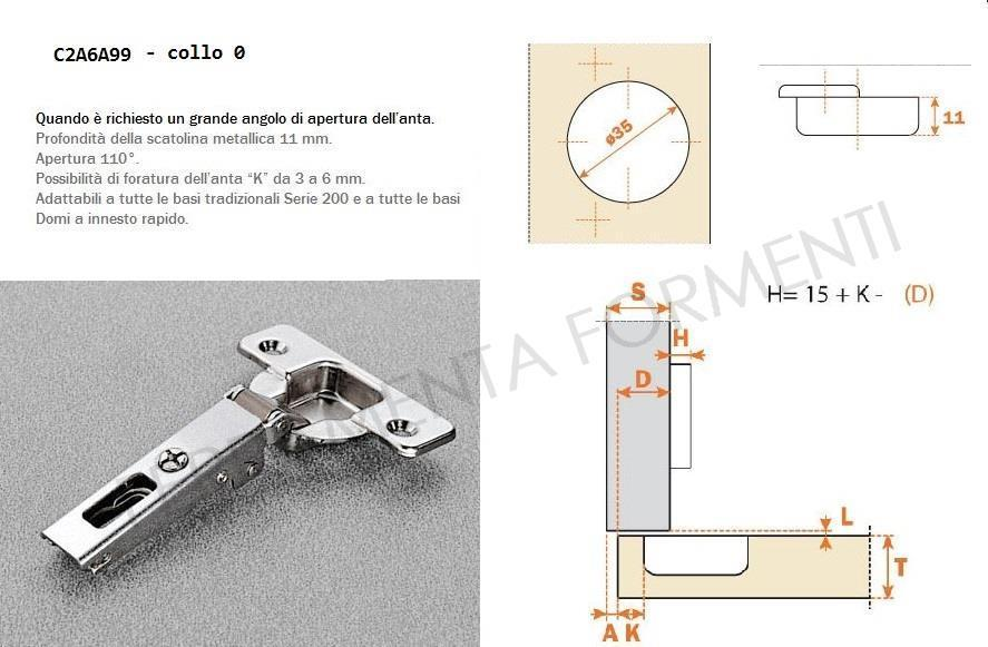 C2A6A99 - cerniera Salice per mobile, foro 35mm, collo 0, angolo apertura  110°
