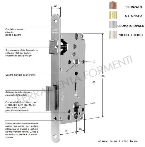 Serrature per porta in legno formenti store - Spranga per porta ...
