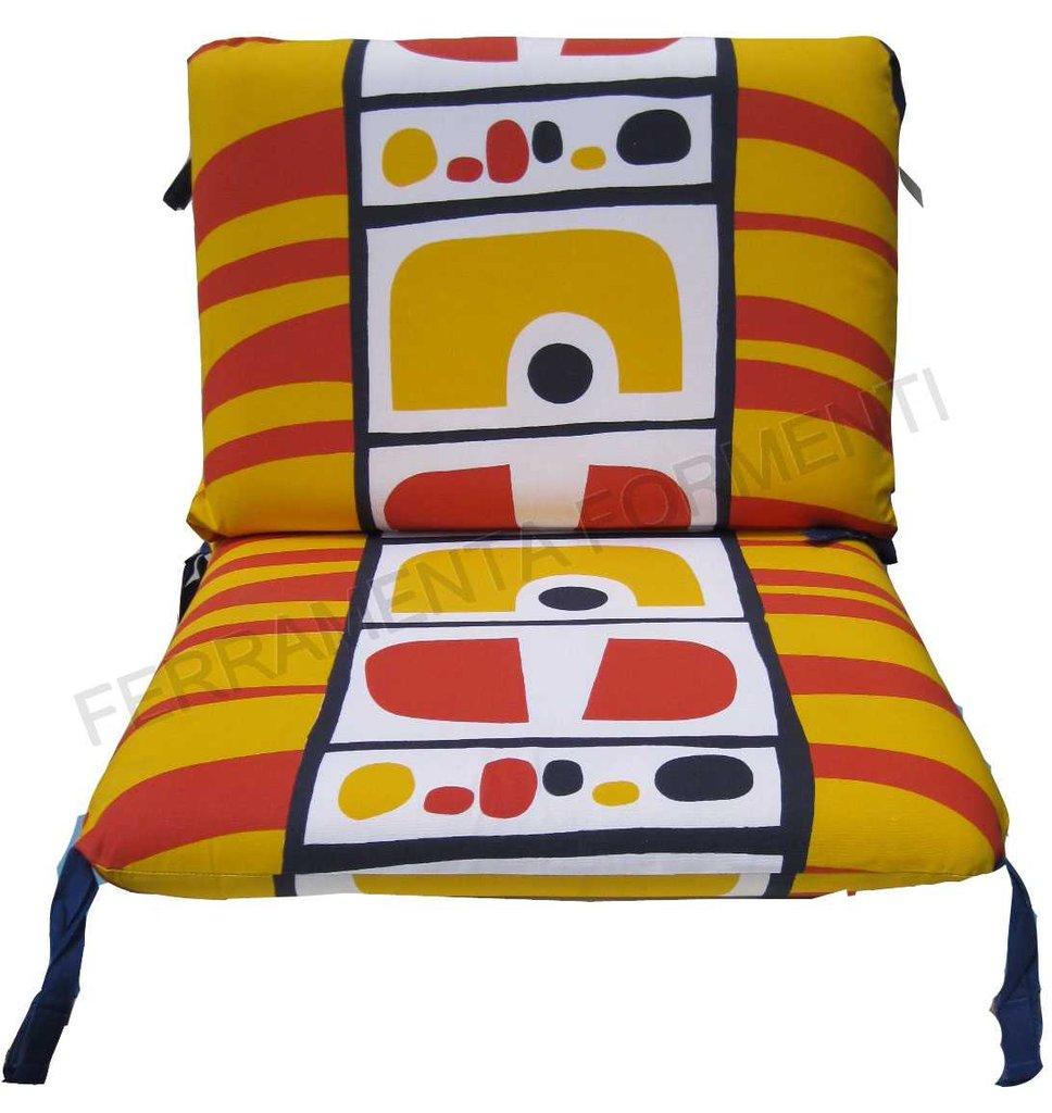 Cuscino fantasia giallo rossa per sedia reguitti for Reguitti mobili da giardino