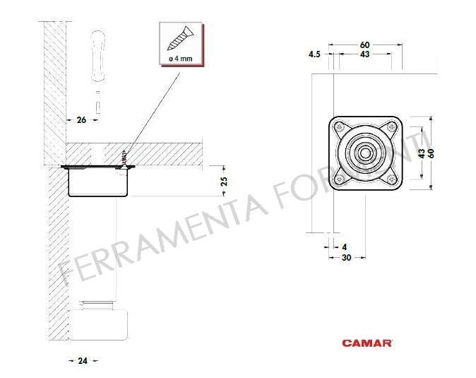 regolabile in acciaio per mobile cucina con piastra quadra ...
