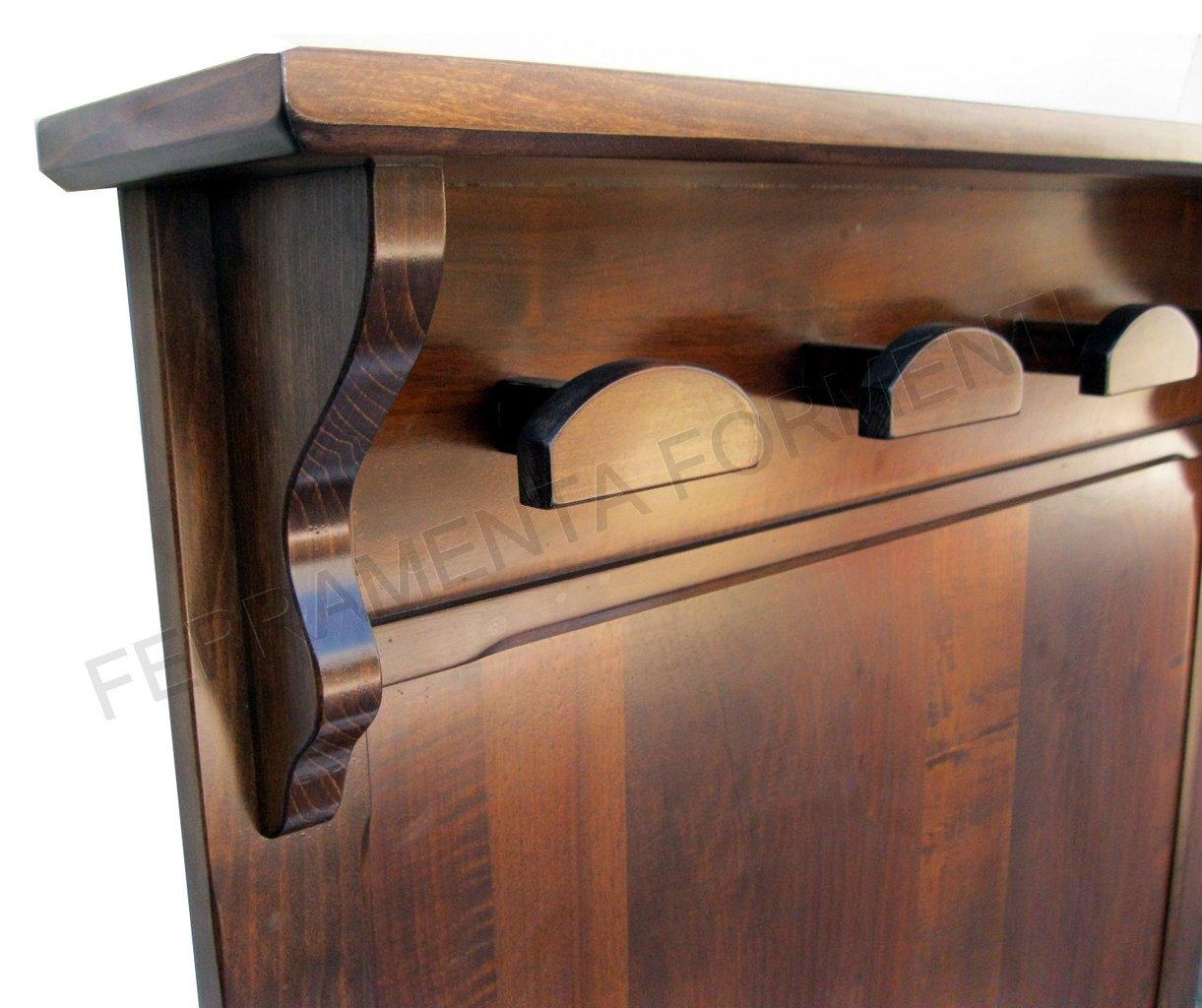 Portabito a parete in legno con cappelliera noce scuro - Portabiti in legno ...