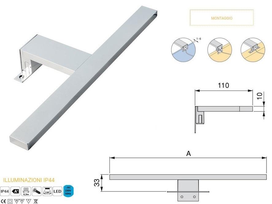 Aquarius lampada a led per specchio mobile bagno 30 cm - Lampada led per specchio bagno ...