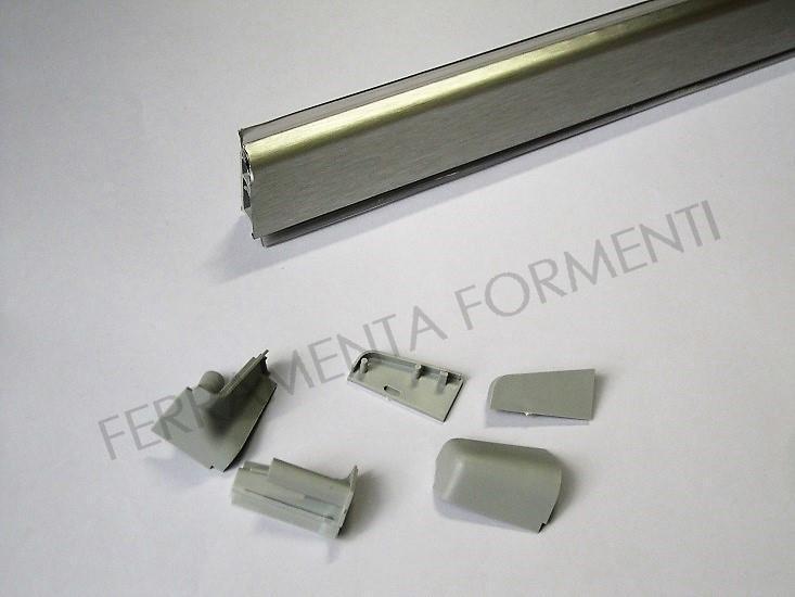 Profilo bordo alzatina per mobile cucina in PVC rivestito ALLUMINIO, 4 m  (cm265+135) con accessori