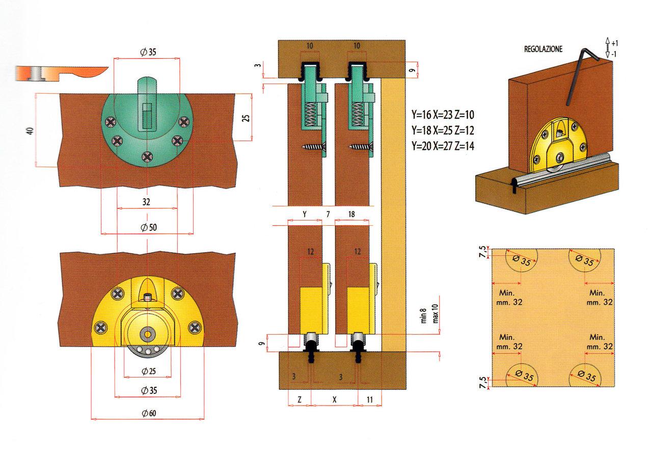 Binari ed accessori per ante scorrevoli max 30 kg for Binari per ante scorrevoli ikea