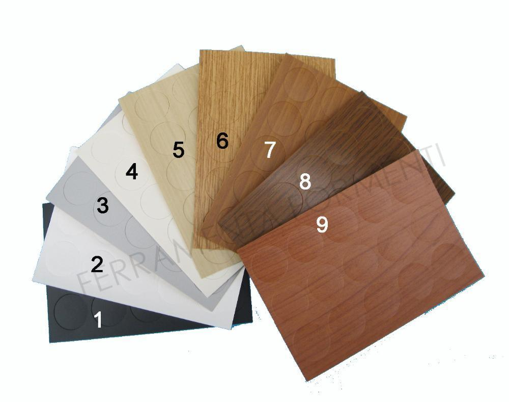 Fogli adesivi copri vite fori in plastica tinta legno for Adesivi per legno