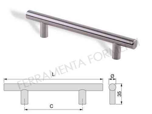 handle for kitchen cabinet doors, furniture, made of brushed steel - choose size