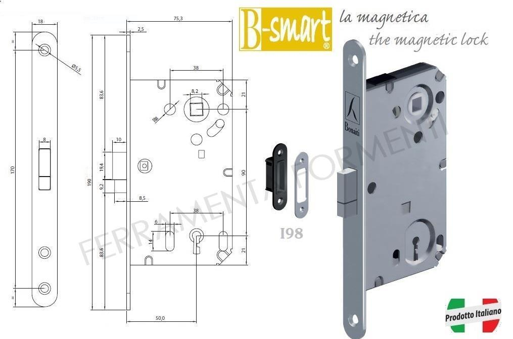 Door Lock For European Cylinder Striking Plate Bonaiti