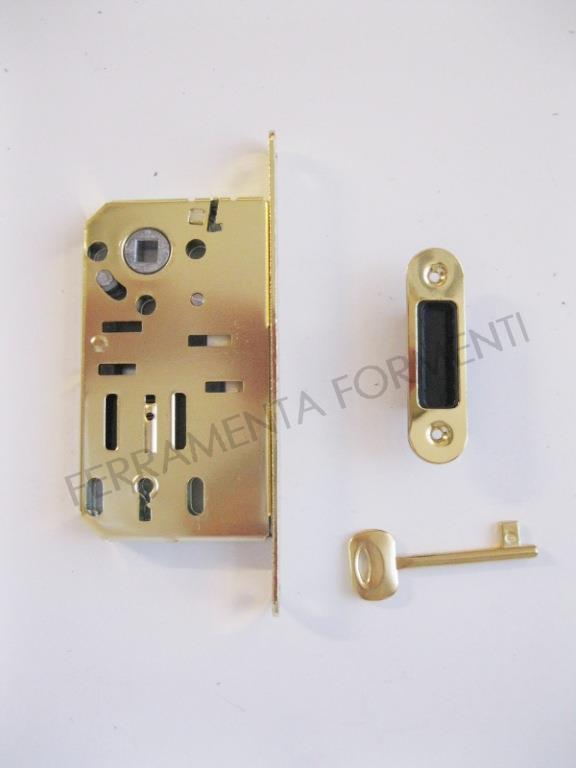 serratura per porta, foro cilindro europeo - Bonaiti entrata 60mm nichel