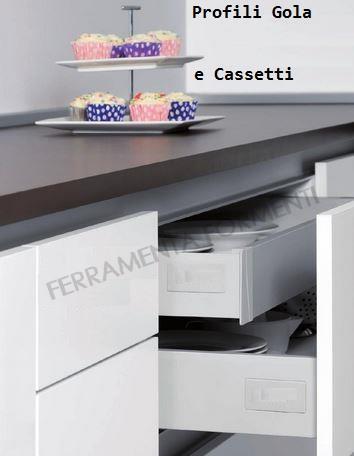 Profilo maniglia GOLA CENTRALE per mobile cucina, in ...