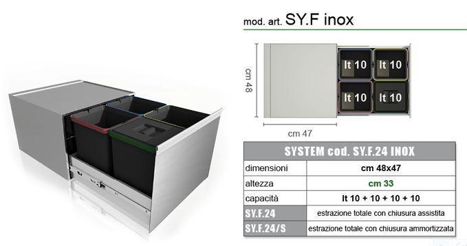 Lavenox sy pattumiera in acciaio inox 4 secchi per raccolta differenziata prodotto italiano - Mobile raccolta differenziata 4 secchi ...