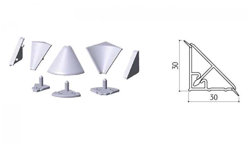 accessori in plastica GRIGIA, angolo e tappi per alzatina, profilo ...