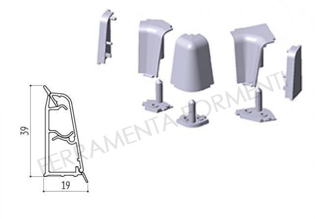 Set accessori in plastica BIANCA, angolo e tappi per alzatina ...