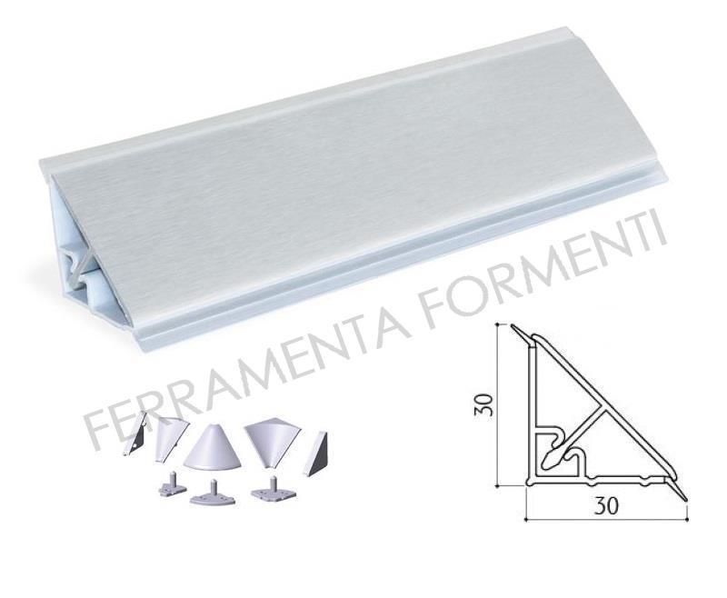 Profilo Top Cucina.4m Cm265 135 Alzatina Bordo Top Cucina Triangolare Mm 30x30 Pvc Rivestito Alluminio Accessori