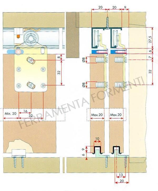 Porta Scorrevole 3 Ante Sovrapposte.710 746 A Sistema Scorrevole Per 3 Ante In Legno Sospese Di Max 30