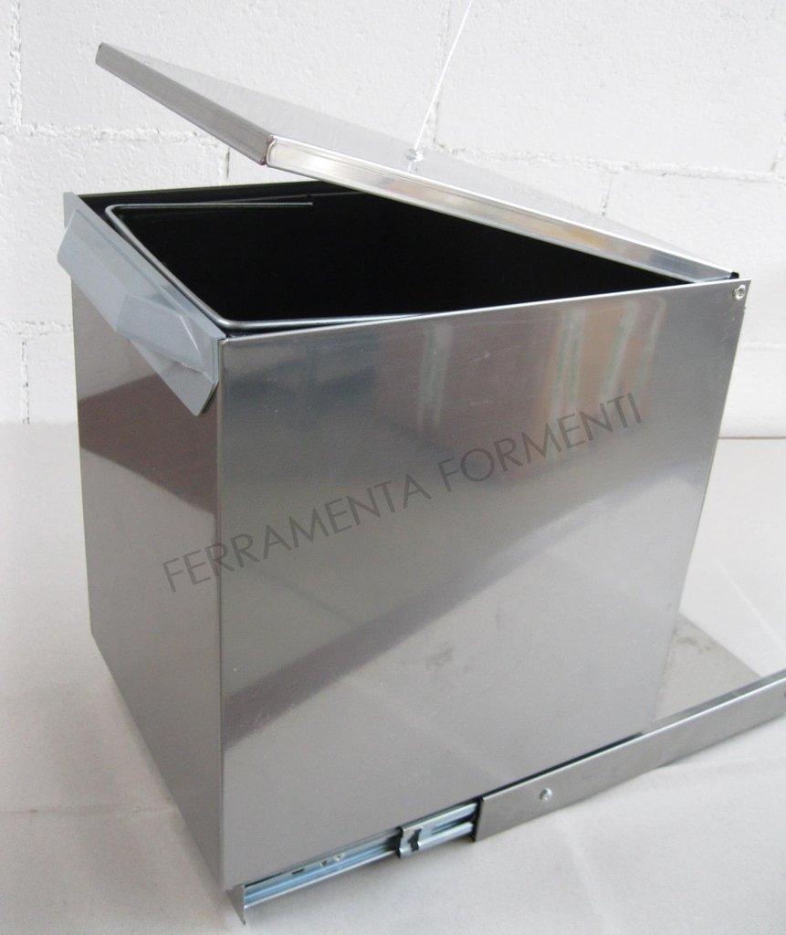 Lavenox PEI - Pattumiera sottolavello estraibile da cucina in acciaio inox,  PRODOTTO ITALIANO