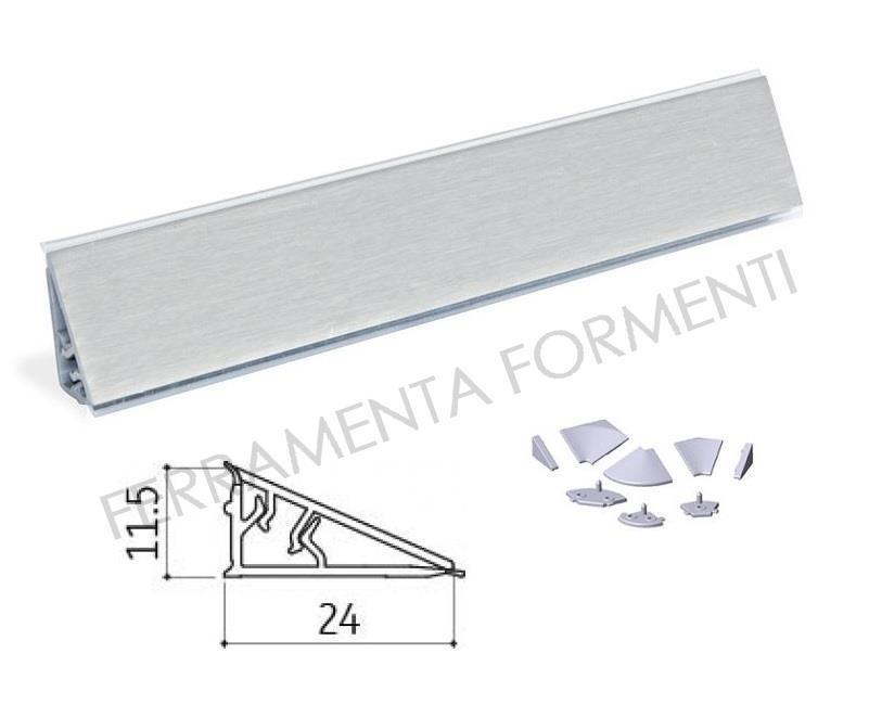2 metri alzatina bordo top cucina triangolare b.24 x h.11,5mm in PVC ...