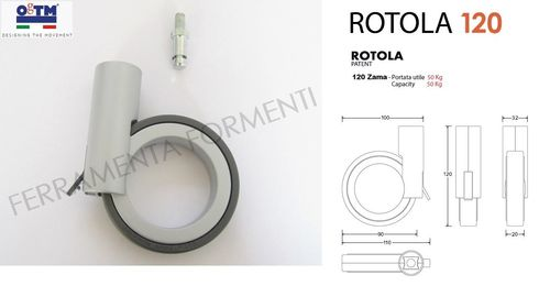 furniture wheel for cabinet OgTM Rotola 120mm high, 50kg load, with brake, M8 fixing, color gray