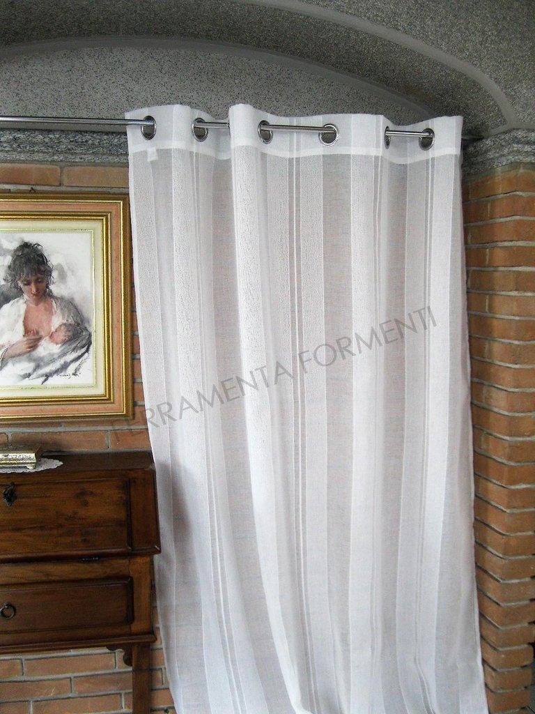Tende Per Interni Con Anelli.Tenda Arredamento Casa Per Interni Zara Bianca 1 Telo Con Anelli Larga Cm 140 X H 300