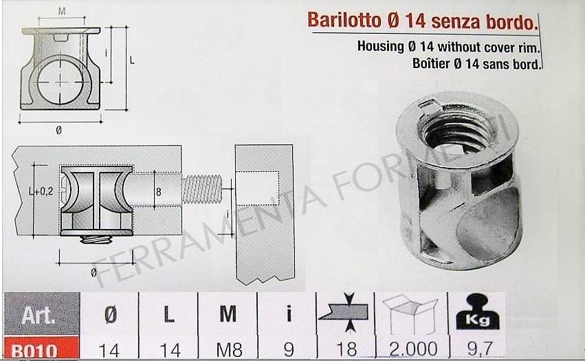 barilotto boccola per giunzione mobili diametro 14 mm x
