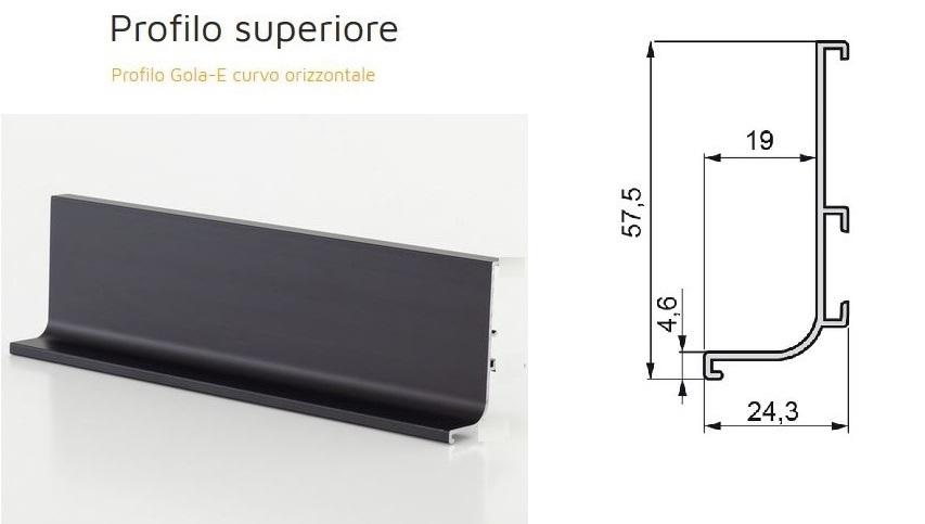 Profilo maniglia GOLA SUPERIORE per mobile cucina, in alluminio grigio  antracite, barra 2 metri