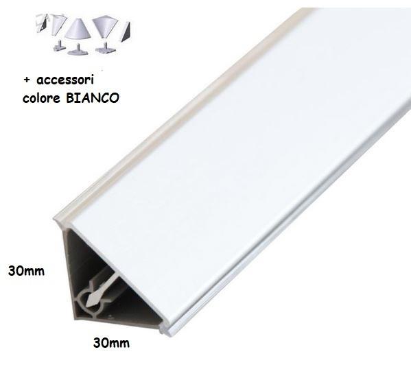 4m (cm265+135) alzatina bordo top cucina triangolare mm 30x30, PVC  rivestito BIANCO + accessori