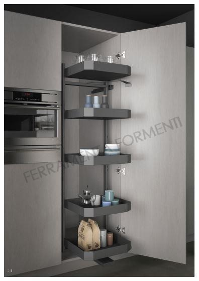 Pull Out Column With 5 Baskets For Kitchen Cabinet 26cm Wide 47