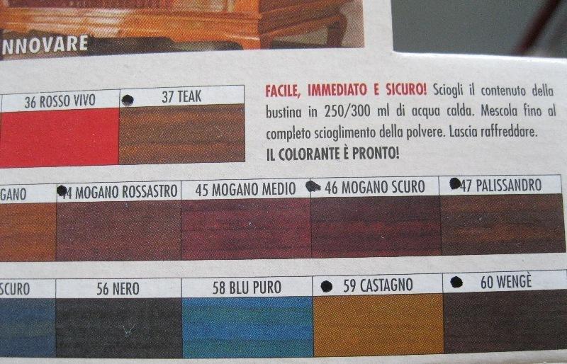 mordente per legno a base acqua, bustina 7,5g scegliere colore