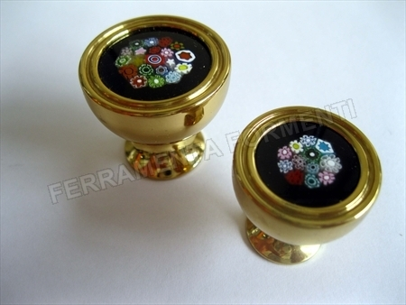 Furniture knob PORRO 01732LE, golden brass with original Murano glass