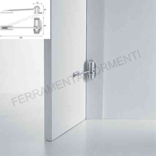 metal door closer with spring, silver painted, single force