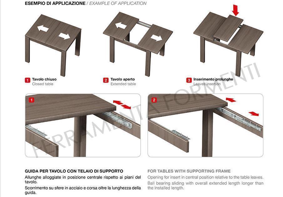 Guida ferro zincato con cuscinetti cm 70 omge 355 - Guide per tavoli allungabili ...