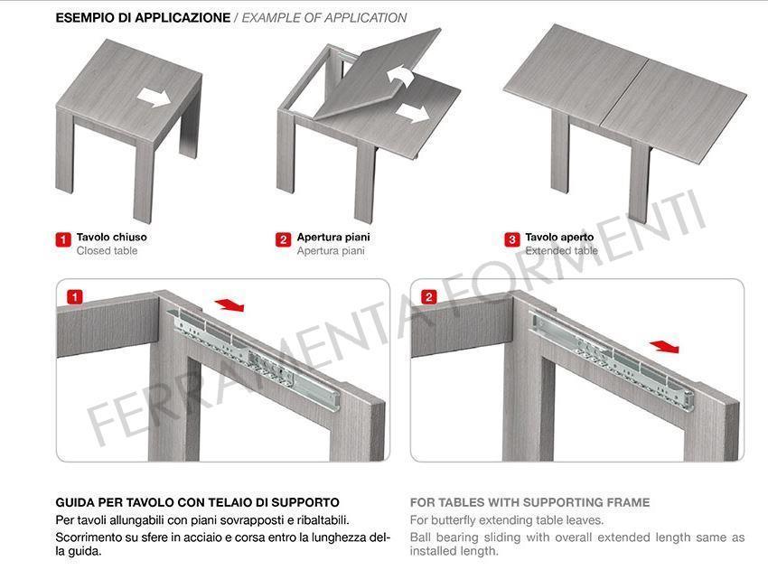Guida ferro zincato con cuscinetti omge 1530 - Guide per tavoli allungabili ...