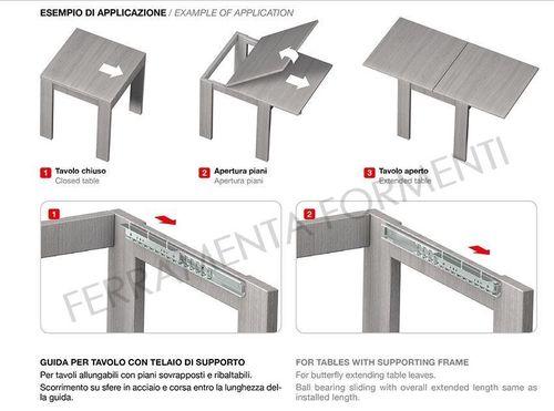 Guide Telescopiche Per Tavoli Allungabili.Guide Ed Allunghi Per Tavoli Formenti