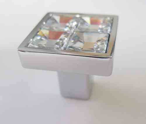 FURNITURE KNOB crome + swarovsky - mm.25x25xh.22