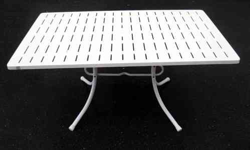 Iron rectangular garden table, white