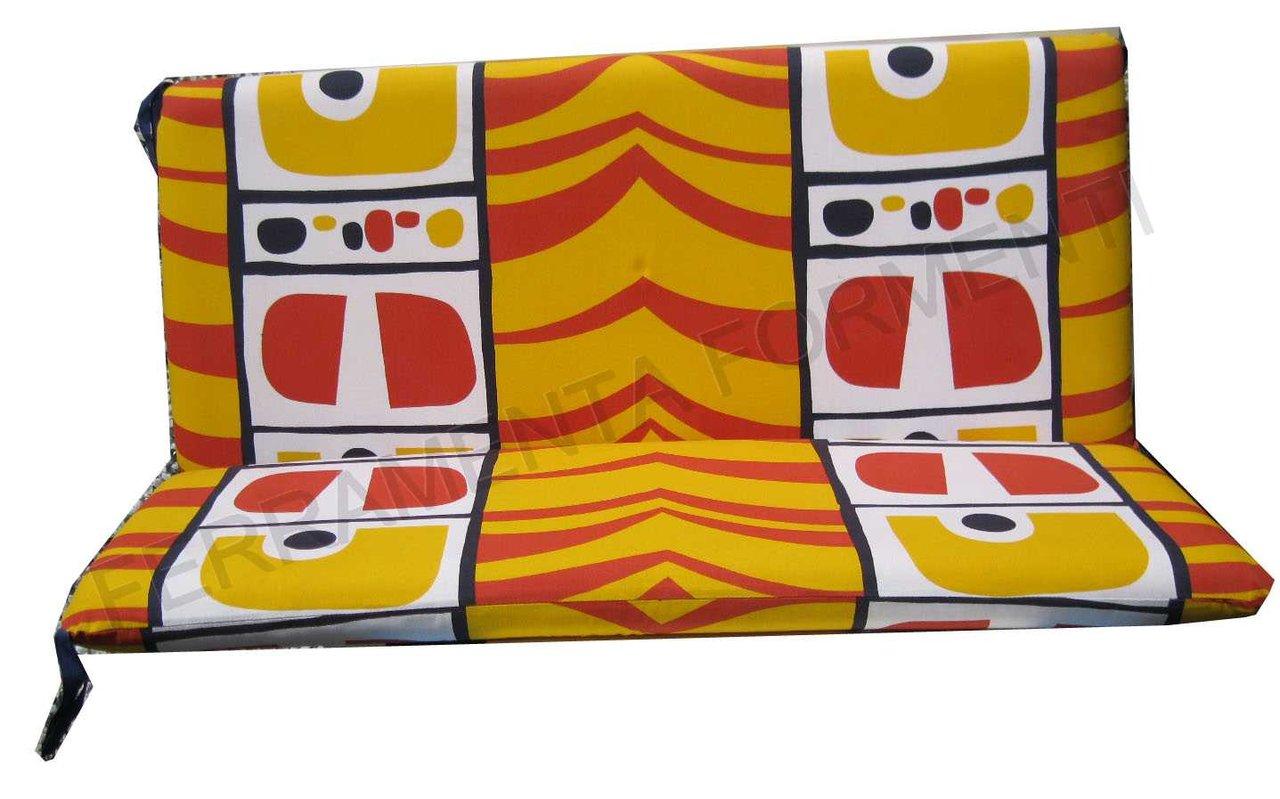Cuscino fantasia giallo rossa per divanetto reguitti for Reguitti mobili da giardino