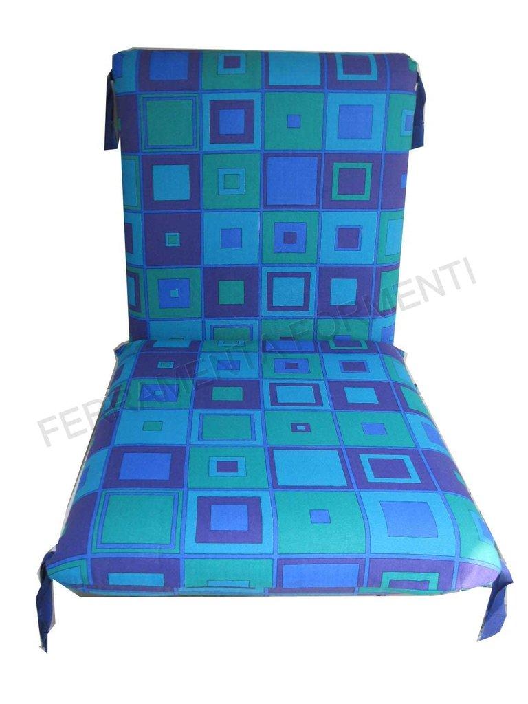 Cuscino fantasia quadri blu per sedia reguitti for Reguitti mobili da giardino