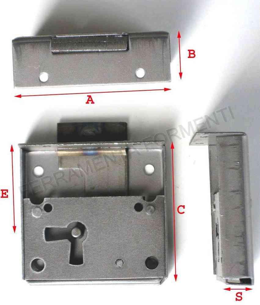 serratura per mobili mezza scatola acciaio lucido entrata 60 mm
