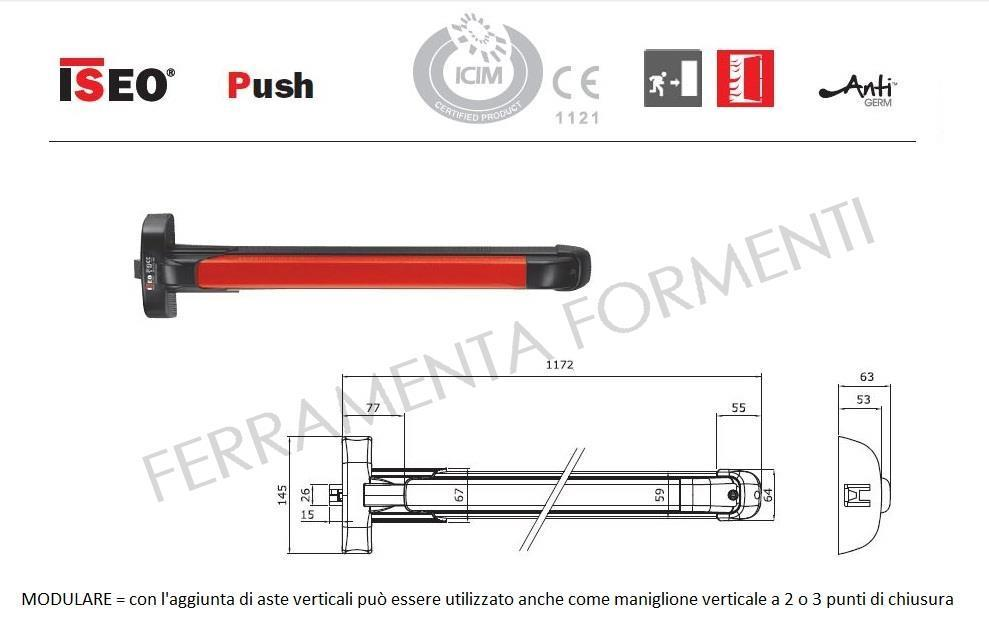 Touch Bar Iseo Push Mm 1170 Wide Could Be Cut Minimum 330mm