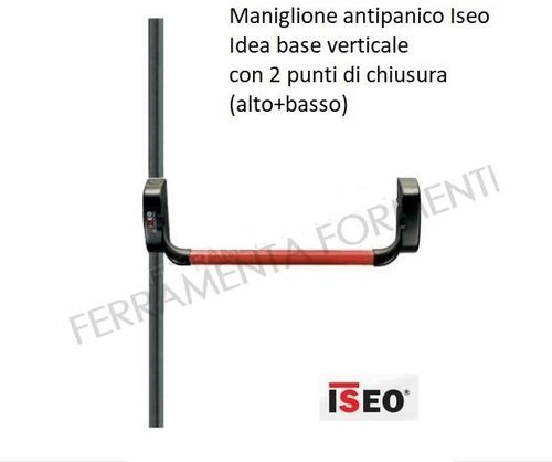 Iseo anti-panic device IDEA BASE VERTICAL complete with red bar, rods and latches, choose size