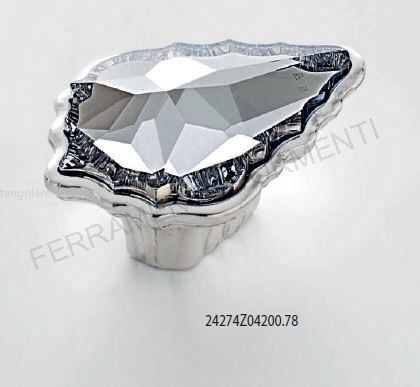 handle cabinet, furniture knob polished chrome with Swarovski crystal mm 30x42xh.24, Glam