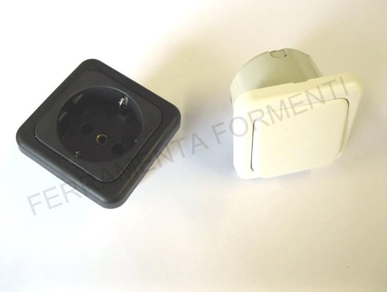 Dettagli su interruttore / presa da incasso per mobili, modello big-qua,  bianco o nero