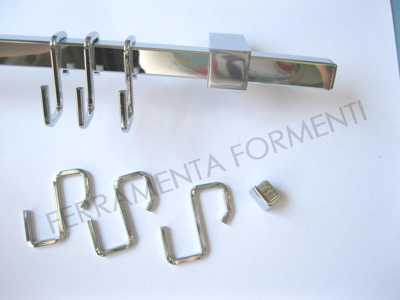 Barra cucina, tubo porta accessori quadro 16x16mm, CROMO ...