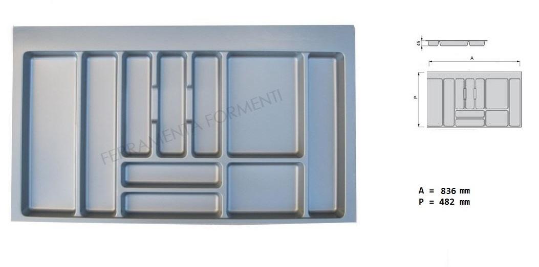 Portaposate Per Cassettiera Da 90 Cm.Portaposate Per Cassetto In Plastica Grigio