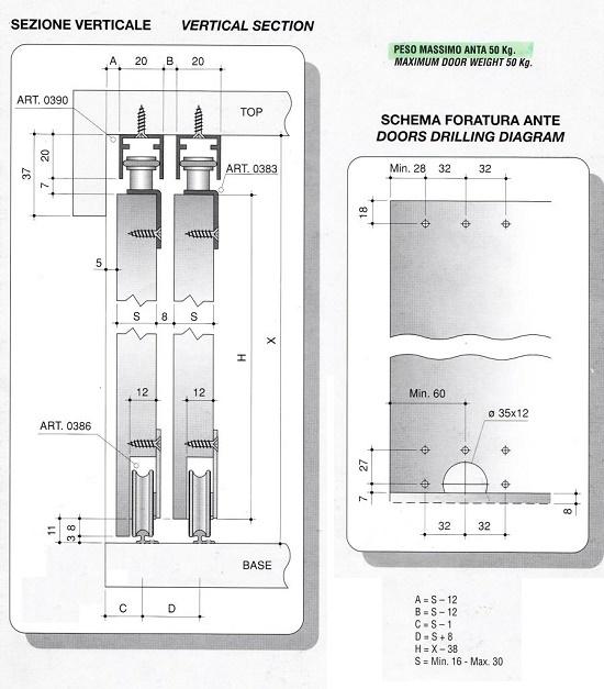 Binari Per Ante Scorrevoli In Vetro.Sistema Scorrevole Per Armadio A 2 Ante Max 50kg Vano Cm 200