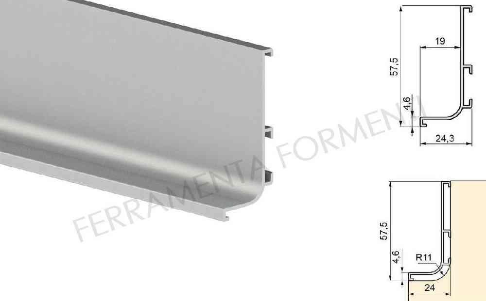 Profilo maniglia GOLA SUPERIORE per mobile cucina, in alluminio BIANCO  lucido, barra 2 metri