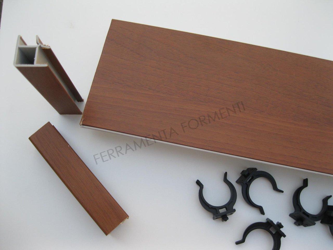 Alzatina Alluminio Per Cucina zoccolo per mobile cucina h 12 cm, pvc noce medio, 2angoli 10molle 1giunto,  4 metri (cm.265+135)