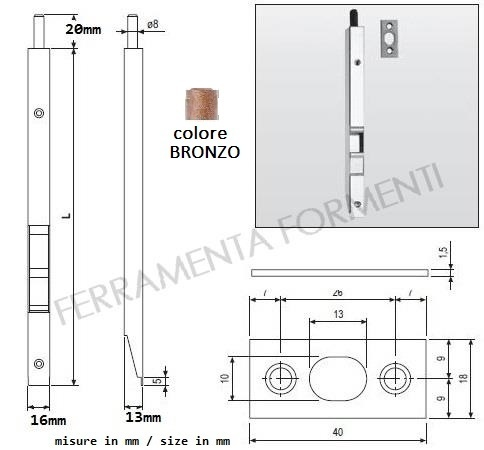 AGB D00310 - push button bolt for door, F16 bronze, choose size