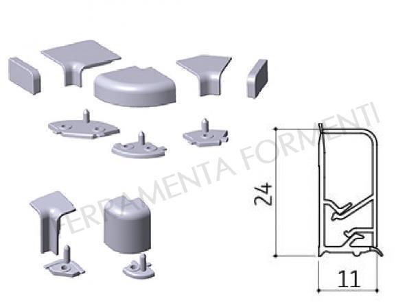 Set accessori in plastica GRIGIA, angolo e tappi per ...