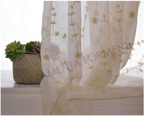 Embroidered house curtain, with rings, 140 x h.280 cm, last cloth 50% discount